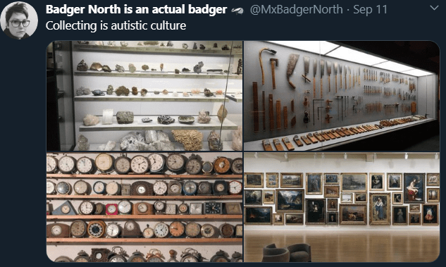 """Screenshot of a tweet by @MxBadgerNorth. The tweet text reads """"Collecting is autistic culture."""" There are four photos in the tweet of different museum galleries that show collections of objects, including a collection of rocks, collection of tools, collection of clocks, and many paintings on a white gallery wall."""